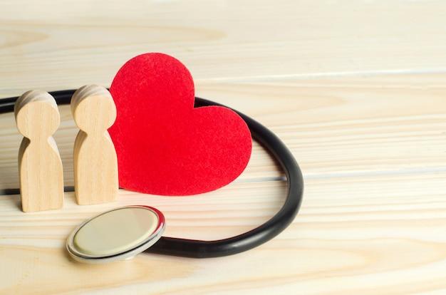 Das konzept der familienmedizin und versicherung. figuren von menschen, stethoskop und herz