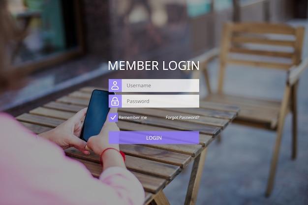 Das konzept der mitgliederanmeldung mit benutzername und passwort.