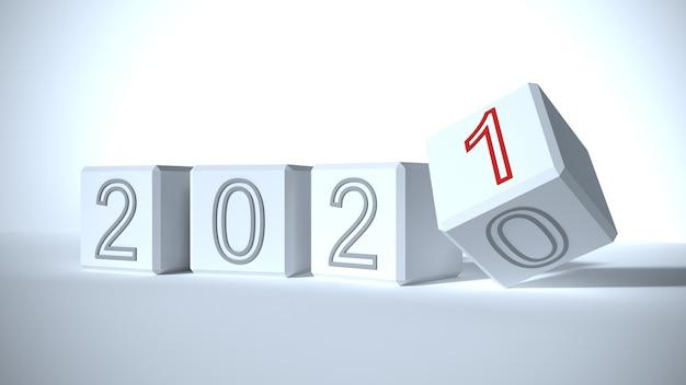 Das konzept der veränderung des jahres von 2020 bis 2021