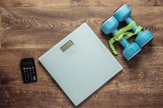 Das konzept des gewichtsverlusts, fitness.