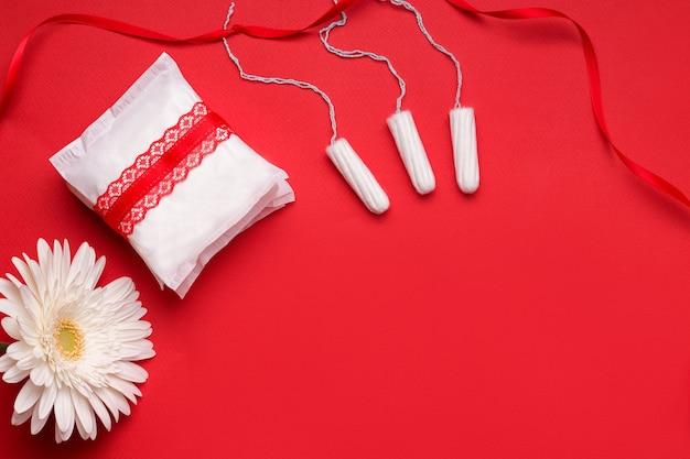 Das konzept des schutzes während der menstruation. dichtungen und tampons.