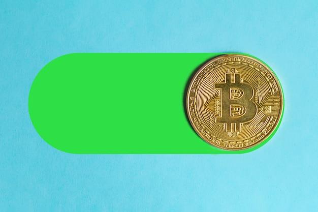 Das konzept des steigenden und fallenden wertes von bitcoin. bitcoin-konzept