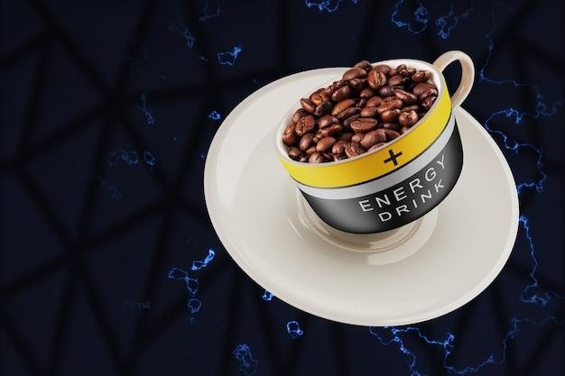 Das konzept eines tonic drinks, der vitalität verleiht. lange und produktive arbeit. kaffeebohnen aus spitze mit batteriemuster.