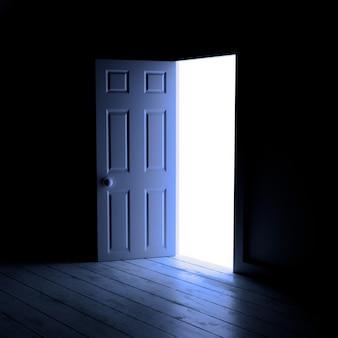 Das licht, das durch tür 3d hereinkommt, übertragen