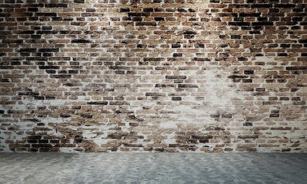 Das loft-innendesign von wohn- und wohnzimmer sowie backsteinmauer