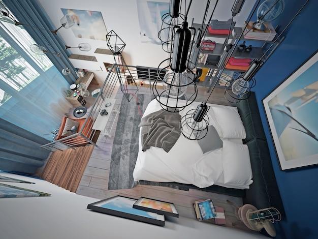 Das loft ist ein jugendzimmer auf der zweiten ebene mit einem schlecht gemachten bett und viel dekor und gemälden.