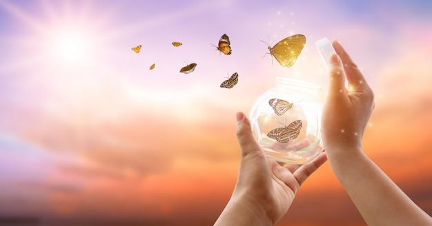 Das mädchen befreit den schmetterling aus dem glas, goldblauer moment konzept der freiheit