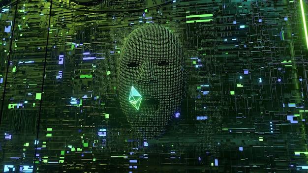Das menschliche gesicht im serverraum taucht aus pixeln auf und frisst das ethereum-münzensymbol. entwicklungskonzept für künstliche intelligenz und kryptowährung. 3d-darstellung
