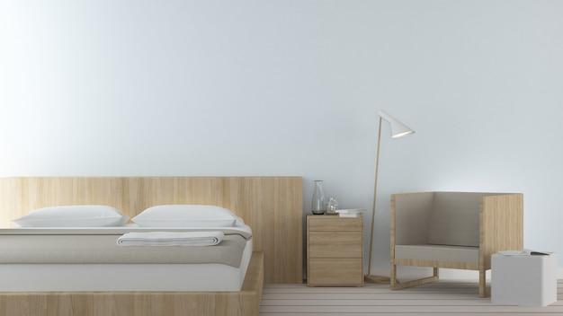 Das minimale design des innenschlafzimmerraumes in der wohnung