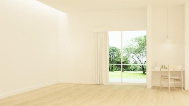 Das minimale innenhotel entspannen sich wiedergabe des raumes 3d und naturansicht