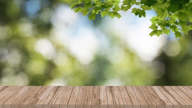 Das modellsommergrün, das 3d verwischt wird, übertragen den holztisch, der heraus baumlandschaft schaut