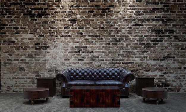 Das moderne, gemütliche loft-innendesign aus wohn- und wohnzimmer sowie backsteinmauer