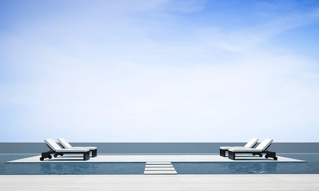 Das moderne, gemütliche wohnzimmer im freien und die dekoration von daybed-möbeln und der hintergrund mit meerblick