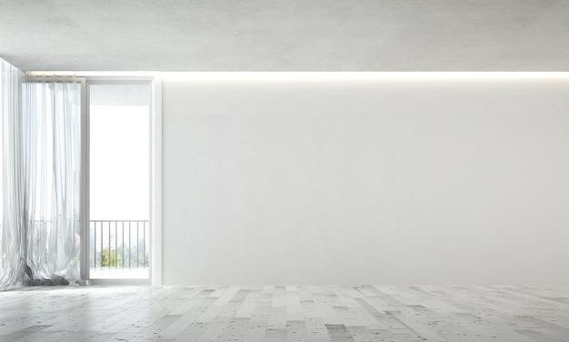 Das moderne innendesign von leerem wohn- und wohnzimmer und weißer wand