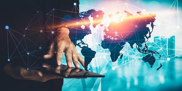 Das moderne kreative kommunikations- und internet-netzwerk verbindet sich in smart city