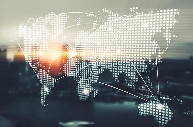 Das moderne kreative kommunikations- und internetnetzwerk verbindet sich in der smart city