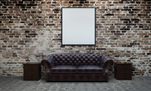 Das moderne loft-innendesign von wohn- und wohnzimmer sowie backsteinmauer