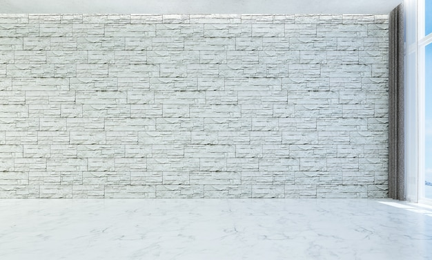 Das moderne luxus-innendesign aus leerem wohn- und wohnzimmer und weißem wandstein
