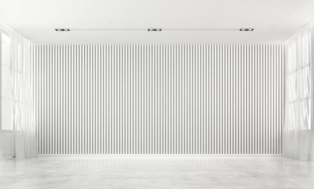 Das moderne luxus-innendesign aus leerem wohn- und wohnzimmer und weißer wand