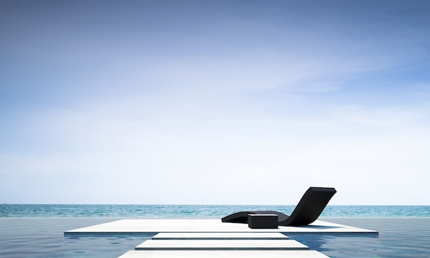 Das moderne wohnzimmer im freien und die dekoration von daybed-möbeln und der hintergrund mit meerblick