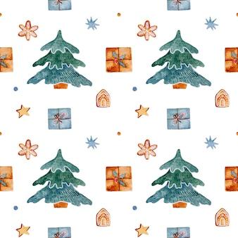 Das nahtlose muster des aquarellweihnachts mit spielzeugabend präsentiert lebkuchensterne und schneeflocken