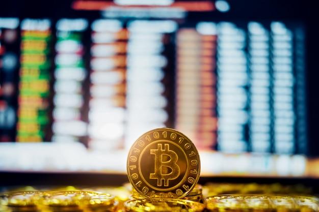 Das neue virtuelle geldkonzept gold bitcoins (btc) ist die blockchain-technologie zur verwendung in kryptowährungen