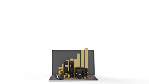 Das öl danke und diagramm auf laptop 3d-rendering für erdölgehalt.