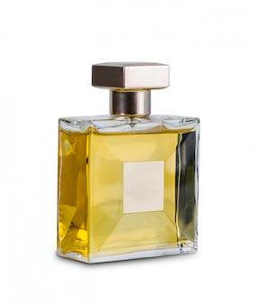 Das parfüm der frauen in der schönen transparenzflasche lokalisiert