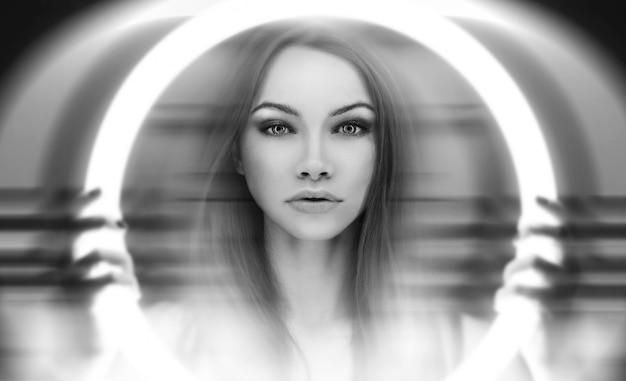 Das portret der jungen außerirdischen frau