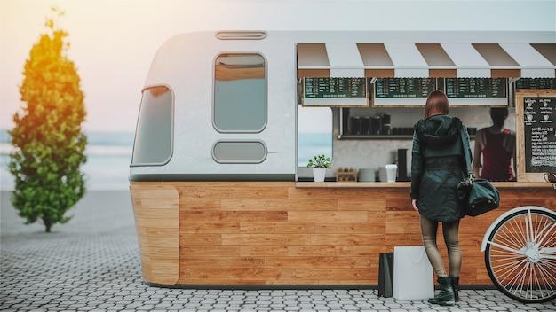 Das restaurant am straßenrand liegt am meer. 3d-rendering und illustration.