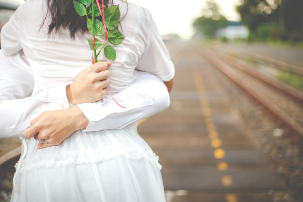 Das romantische datum oder hochzeits- oder valentinstagkonzept.