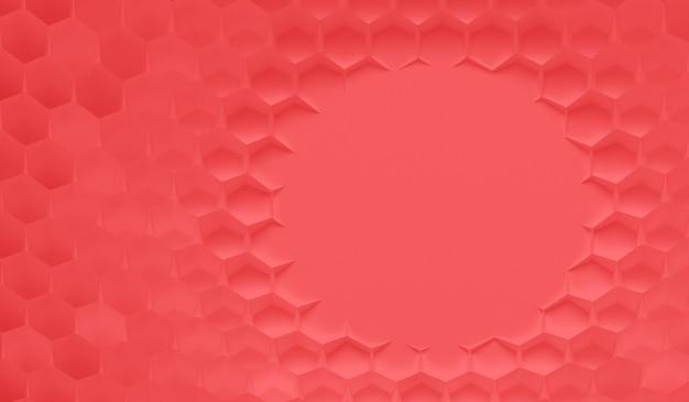 Das rote gitter von zellen in form von sechseckigem bienenwabenhintergrund