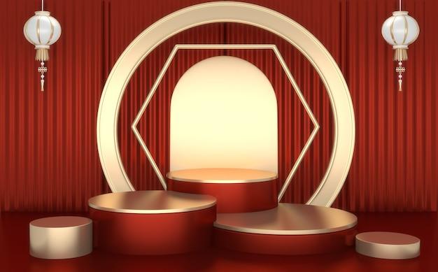 Das rote japanische podium zeigt kosmetisches produkt geometrischen japanischen stil.3d-rendering
