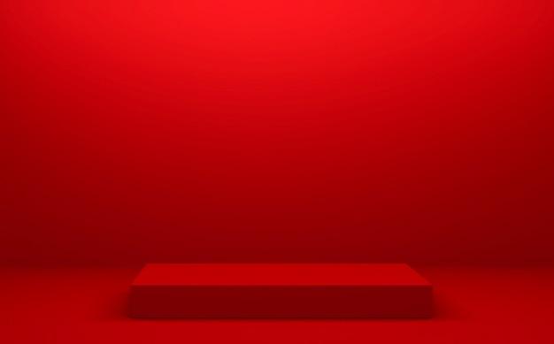 Das rote podium geometrisch für die produktpräsentation. 3d-rendering