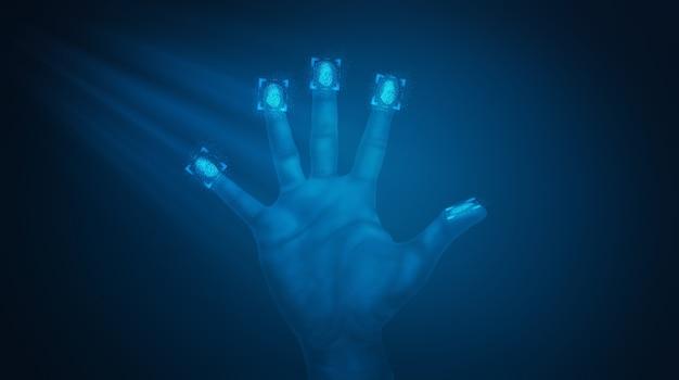 Das scannen von fingerabdrücken bietet sicheren zugriff auf die 3d-abbildung