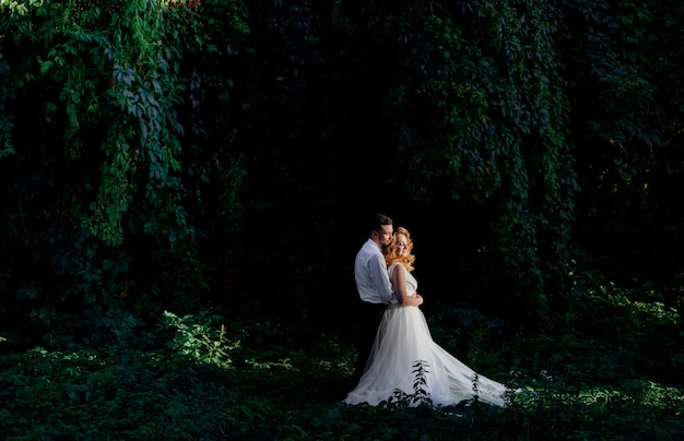 Das schöne verliebte hochzeitspaar steht umgeben von grünem efeu im freien und umarmt es
