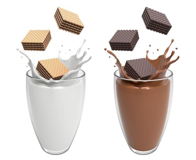 Das schokoladenquadrat der vanille und der dunklen oblate, das in glas fällt, bringen gut mit illustration des milch- und schokoladenspritzens 3d zusammen.