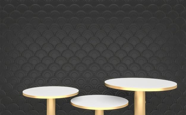 Das schwarze und goldene podium minimale geometrische, abstrakte 3d-darstellung im dunklen stil