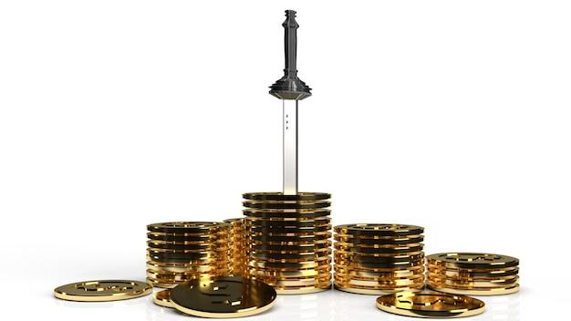 Das schwert in goldmünzen für geschäftsinhalts-3d-rendering.