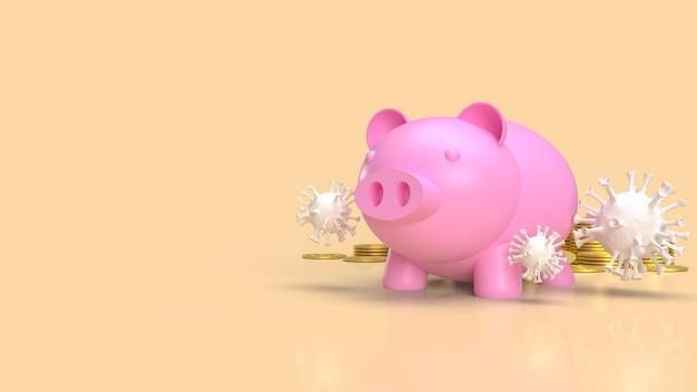 Das sparschwein und das virus für geld oder geschäft im coronavirus-krisenkonzept 3d-rendering
