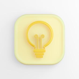 Das symbol ist eine flache gelbe glühbirne, ein quadratischer knopf. 3d-rendering.