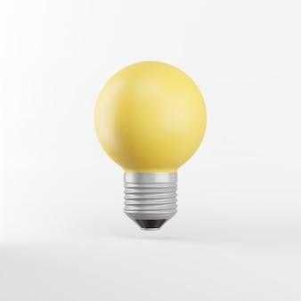 Das symbol ist eine realistische gelbe runde glühbirne. 3d-rendering.