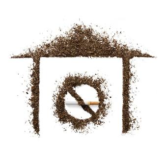 Das symbol rauchverbot im haus.