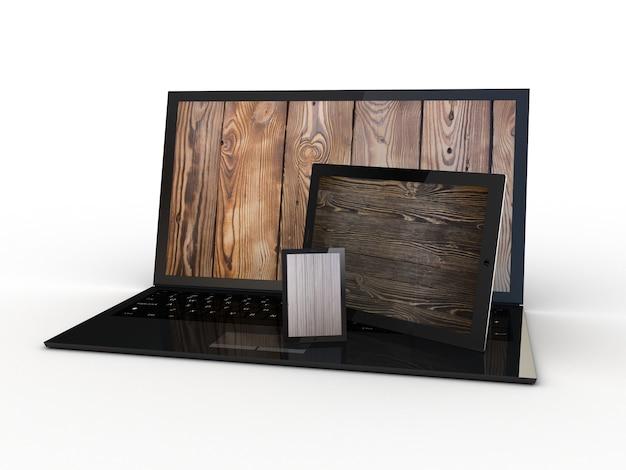 Das tablet, smartphone und laptop mit holz auf dem bildschirm