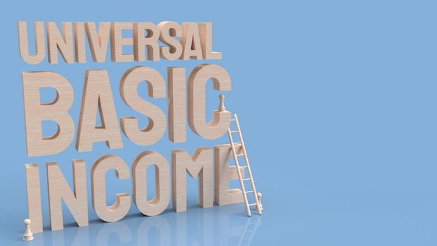 Das ubi oder universal basic income ist ein regierungsprogramm, bei dem jeder erwachsene bürger regelmäßig einen festgelegten geldbetrag erhält 3d-rendering