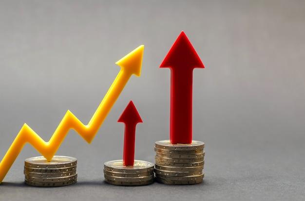 Das wachstum des euro, die wertsteigerung. finanz- und bankkonzept. nahaufnahme, textfreiraum
