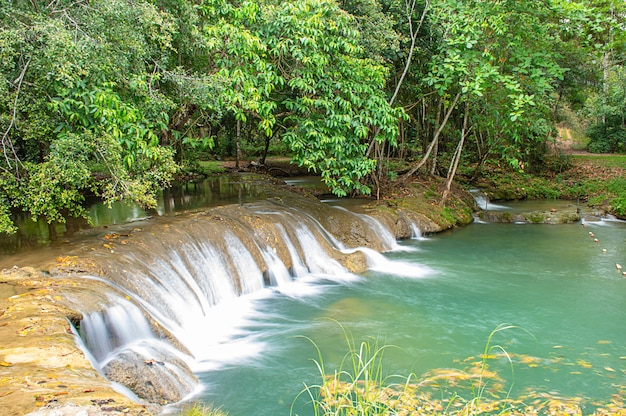 Das wasser fließt über felsen und bäume einen wasserfall am kapao-wasserfall-nationalpark hinunter
