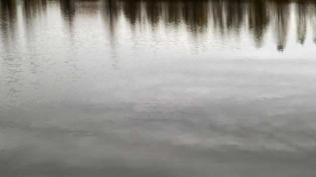 Das wasser im teich wird aufgrund der niedrigen temperaturen langsam mit eis bedeckt. die ankunft des winters. nahaufnahme. reflexion von bäumen ohne blätter in kaltem wasser.
