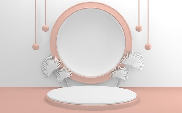 Das weiß-rosa podium. 3d-rendering