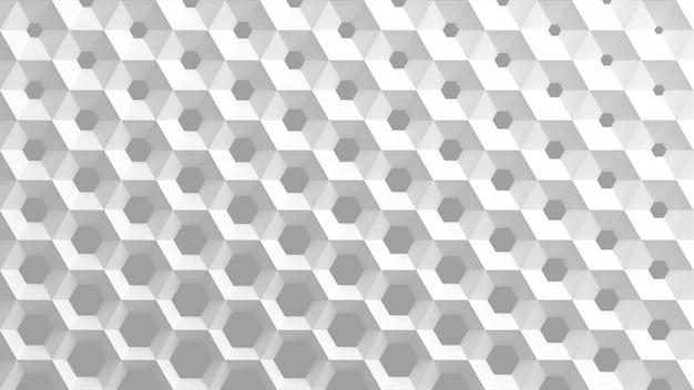Das weiße gitter von zellen in form von sechseckigen waben mit unterschiedlichem durchmesser